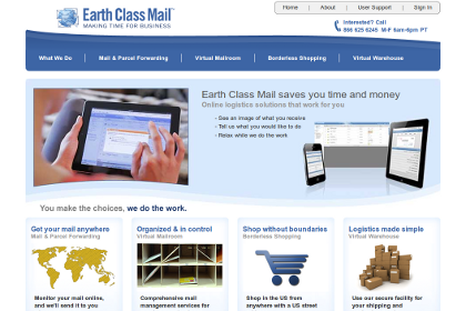 Screenshot of Earth Class Mail web site.