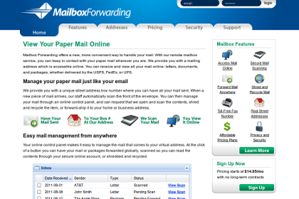 Screenshot of Mailbox Forwarding web site.